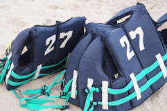 Life vest on beach Stock Photo