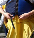 Life vest displayed. Stock Photo