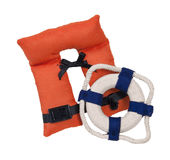 Life Vest and Life Preserver. For nautical safety - path included royalty free stock photography