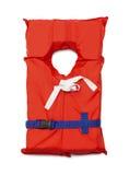 Life Vest. Orange Life Jacket with Belt Isolated on White Background Stock Photos