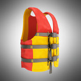Life vest red yellow 3d render on grey background Stock Photography