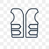 Life vest vector icon isolated on transparent background, linear vector illustration