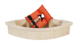 Life Vest in Wooden Boat. Life vest with security belts for nautical safety in a Wooden Boat - path included stock image