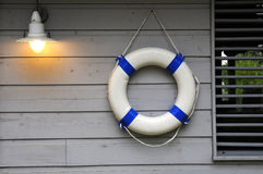 Life in the voyage. Life buoy in the boat Stock Photo