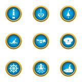 Life in water icons set, flat style. Life in water icons set. Flat set of 9 life in water vector icons for web isolated on white background royalty free illustration