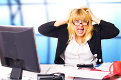 Life before week-end. business scream. Business woman shouts at office in end of working day Stock Image