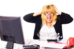 Life before week-end. business scream. Business woman shouts at office in end of working day Stock Photo