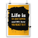 Life is what happens and how we react on it. Inspirational motivating quote poster for wall. A4 size easy to edit Stock Photography