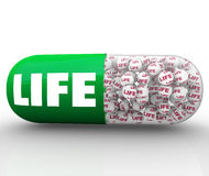 Life Word Capsule Pill Improve Health Wellness Quality Medicine Royalty Free Stock Images