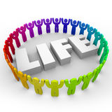 Life Word Diverse People Living Together Peace Harmony Stock Photos