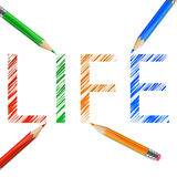 Life word drawn with pencils. Life word drawn with  green, red, orange and blue pencils. Illustration on white background Stock Photography