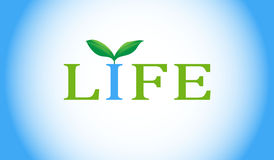 Life word with green plant. Royalty Free Stock Photos
