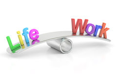 Life and Work balance concept, 3D rendering. On white background Stock Image