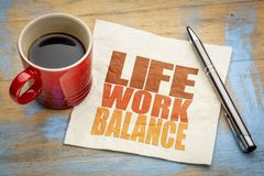 Life work balance concept on napkin. Life work balance concept - word abstract on a napkin with a cup of coffee stock images
