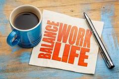 Life work balance concept on napkin. Life work balance concept - word abstract on a napkin with a cup of espresso coffee royalty free stock photos