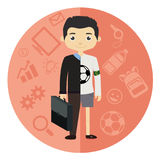 Life and work balance. Young businessman in suit on the left and sport on the right. Vector Stock Images