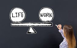 Life and work balance with young woman stock photo