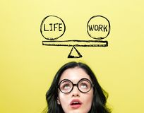 Life and work balance with young woman. Wearing eye glasses royalty free stock photography