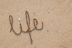 Life written in Sand. Close up of word 'life' written in sand at beach royalty free stock photos