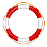 Lifebelt. Life buoy with rope - red and white lifebelt - sos help icon  illustration Stock Photography