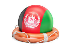 Lifebelt with Afghanistan flag, safe, help and protect concept. Royalty Free Stock Photo