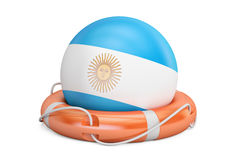 Lifebelt with Argentina flag, safe, help and protect concept. 3D. Lifebelt with Argentina flag, safe, help and protect concept Stock Photo