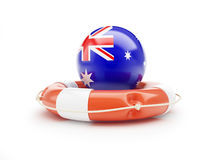 Lifebelt with Australia flag help on a white background Royalty Free Stock Photography