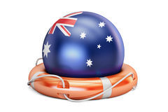 Lifebelt with Australia flag, safe, help and protect concept. 3D Royalty Free Stock Photography