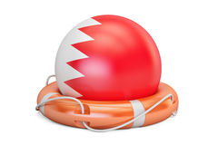 Lifebelt with Bahrain flag, safe, help and protect concept. 3D  Royalty Free Stock Images