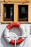 Lifebelt on a boat, in Galway harbour, ireland. Detail of a lifebelt, on a boat in Galway, west of Ireland stock images