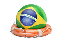 Lifebelt with Brazil flag, safe, help and protect concept. 3D re Stock Photography