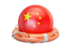 Lifebelt with China flag, safe, help and protect concept. 3D vector illustration