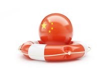 Lifebelt with Chinese flag 3D illustration Royalty Free Stock Images