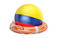 Lifebelt with Colombia flag, safe, help and protect concept. 3D Royalty Free Stock Images