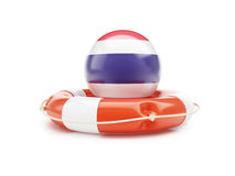 Lifebelt with Costa Rica flag help on a white background Stock Images