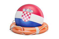 Lifebelt with Croatia flag, safe, help and protect concept. 3D  Stock Images