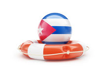 Lifebelt with Cuba flag 3D illustration Stock Photo