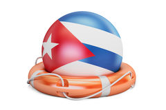 Lifebelt with Cuba flag, safe, help and protect concept. 3D rend Stock Photography