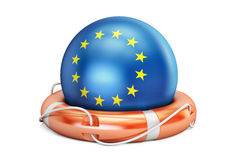 Lifebelt with EU flag, safe, help and protect concept. 3D render Royalty Free Stock Images
