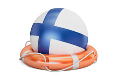 Lifebelt with Finland flag, safe, help and protect concept. 3D  Stock Photo