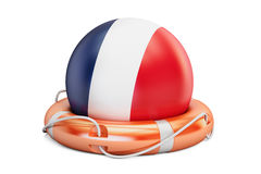 Lifebelt with France flag, safe, help and protect concept. 3D re Stock Images