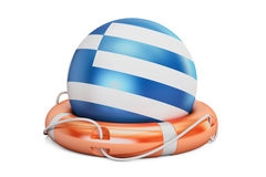 Lifebelt with Greece flag, safe, help and protect concept. 3D re Stock Photo