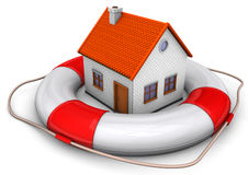 Lifebelt House. A big lifebelt with a house on the white background Royalty Free Stock Image