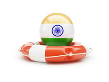 Lifebelt with India flag help on a white background Royalty Free Stock Photos