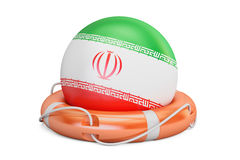 Lifebelt with Iran flag, safe, help and protect concept. 3D rend Royalty Free Stock Image