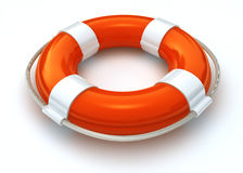 Lifebelt isolated on white with clipping path. 3d image of a orange and white lifebuoy isolated on white with clipping path Royalty Free Stock Photography