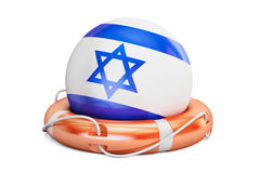 Lifebelt with Israel flag, safe, help and protect concept. 3D re Royalty Free Stock Photo