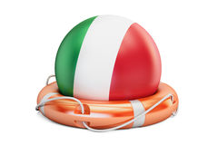 Lifebelt with Italy flag, safe, help and protect concept. 3D ren Stock Photos