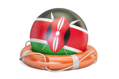 Lifebelt with Kenya flag, safe, help and protect concept. 3D ren Royalty Free Stock Photos