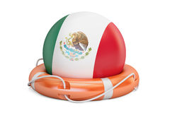 Lifebelt with Mexico flag, safe, help and protect concept. 3D re Stock Image